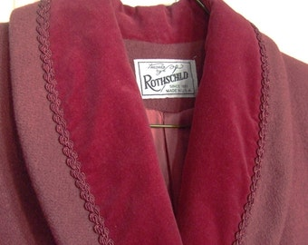 Vintage Rothschild Coat Maroon Wool Velvet Back Bow 1980s Size 8/10