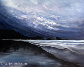 Stormy Skies over Tofino Beach Landscape Painting - Photo Print on Paper