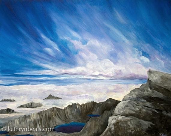 Sierra Mountain Peak Over Alpine Lakes, Landscape Painting - Photo Print on Paper