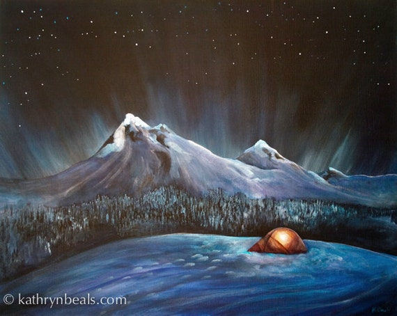 Night Sky Tent in the Snow, Mountain Landscape Painting - Photo Print on Paper