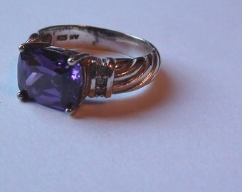Amazing Promise Ring  Iolite Emerald Cut Rich February Color Purple Cz Ring and sterling silver Signed 925 NV Ring  Size 6  Nice  1ct =8mm