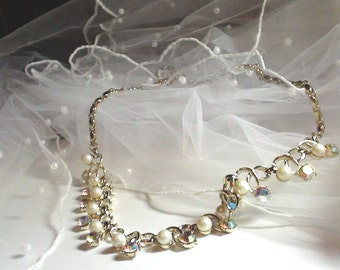 Vintage Pearl and Aurora Borealis Crystals in Brushed Light  Gold Eternity Link Bridal Necklace Statement  Wedding  Jewelry On SaLe Now