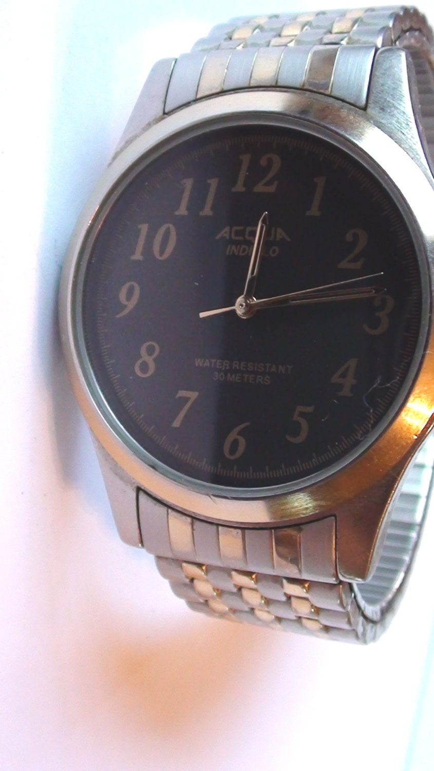 Men watch acqua timex indiglo face 1 1 2 diam vintage for Indiglo watches