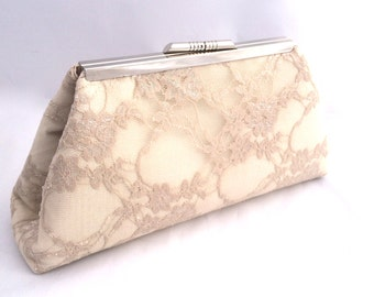 Champagne Lace Bridal Handbag Clutch bridal accessory with Satin Lining- custom design your own in various colors