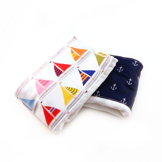 Sailboats Anchors Burp Cloths- Blue Red  Yellow - set of 2 Boys / Baby Shower Gift
