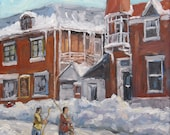 On Sale Faubourg à m'lasse Montreal - Joys of Winter by Prankearts - mini Original Oil Painting