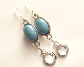 Round Silver & Oval Blue/Turquoise Rhinestone Earrings