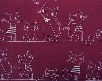 2509B - Full Yard Sale -- Lovely Cats Line in Plum, Cute Animal, Cats Line, Kawaii Cats, Kawaii Animal