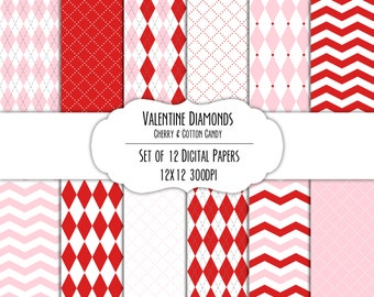 Valentine Diamonds Digital Scrapbook Paper 12x12 Pack - Set of 12 - Argyle, Diamonds - Instant Download - #8201