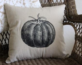 Vintage Pumpkin Linen Pillow Cover