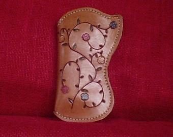 Handcrafted Leather EYEGLASS CASE FLORAL Vine