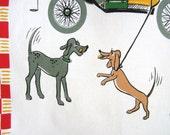 Vintage Tea Towel Mid Century Dogs Puppy Love Automobile Milvia Style