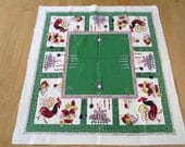 Vintage Barkcloth Tablecloth Mid Century Atomic Roosters Starburst Clocks Square Table Cloth