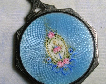 Antique Sterling Guilloche Enamel Mirror, Hand Mirror, Old Enamel Mirror, Antique Mirror (#2662)