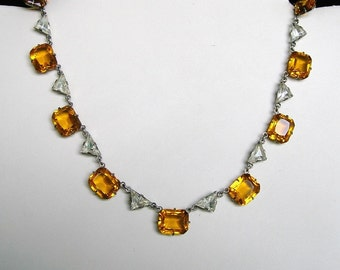 Antique Sterling Art Deco Crystal and Topaz Colored Glass Stone Necklace, Art Deco Necklace