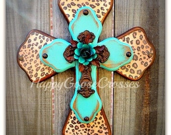 Wall Cross - Wood Cross - X-Small - Leopard/Cheetah with Antiqued Turquoise, Iron Cross w/ Turquoise Iron Rose