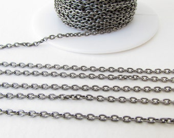 Antiqued Silver Ox Chain Cable Delicate Oval Soldered Links Beading TierraCast 3x2mm chn0158 (1 foot)