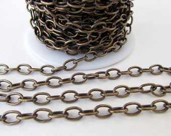 Antiqued Brass Ox Chain Cable Oval Open Links TierraCast 8x5mm chn0157 (1 foot)