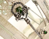Key Necklace Sterling Silver Gemstone Tourmaline Chrome Diopside