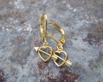 Vintage Brass Heart Pierced Arrow Charm  Dangle Earrings