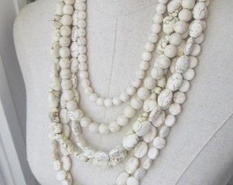 White Bone Cream Multi Strand Chunky Turquoise Necklace