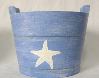 Wedding Favor Starfish wooden bucket weathered shabby chic nautical coastal decoration