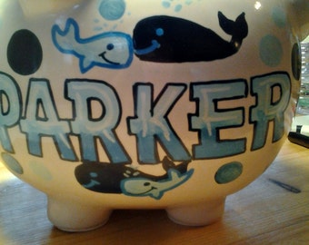 Personalized Piggy Bank Whale Design Handpainted