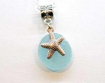 Bridesmaids, Stocking jewelry Eco friendly Light Blue Sea glass with starfish charm necklace stainless steel, .925 sterling silver or plated