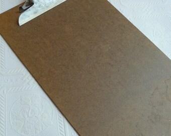 vintage Clipboard, unique Clipboard, hanging Clipboard, long Clipboard, paper holder, vintage home decor, Skilcraft Industrial,brown,retro