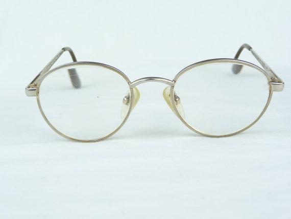 vintage eyeglasses modern times network gold frames metal
