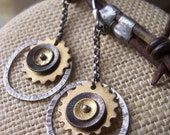 Steampunk Earrings, Gear Earrings, Mixed Metal Earrings, Industrial Jewelry.