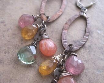 Sweet Candy, Boho Gemstone Drop Earrings,  Colorful Gemstone Earrings,  Mixed Metal earrings with Gemstones.