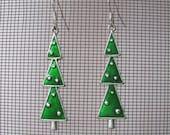 Green enamel triple Christmas Tree hook earrings Holiday earrings