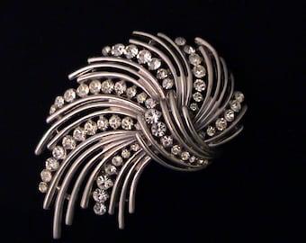 Vintage TRIFARI Silver and Crystal Rhinestone Brooch