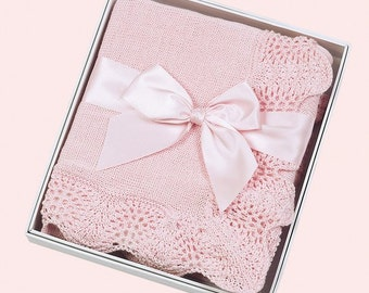 Baby Blanket Personalized Pink Vintage