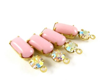 2 - Vintage Glass Octagon Stone and Round Rhinestone in 1 Ring 2 Stones Brass Settings - Opaque Pink & AB Crystal - 18x6mm
