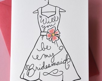 Will you be my bridesmaid? Hand painted custom Bridesmaids Cards - Choose your color - by Megan Jewel Designs