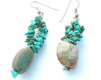 Turquoise Earrings Vintage Dangle Genuine Raw Stone Statement Jewelry