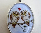 SALE Love Owl necklace by Amy Brown