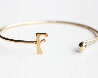 Sample Sale - Vintage Initial Cuff Bracelet - Letter F