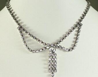 Festoon Style Rhinestone Necklace Signed Kramer Vintage Wedding Bridal