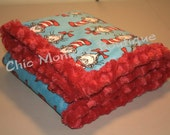 Minky Baby Blanket, Dr. Seuss The Cat in the Hat Print with Red Minky Swirl Backing and Edging...Last Minute Gift Idea