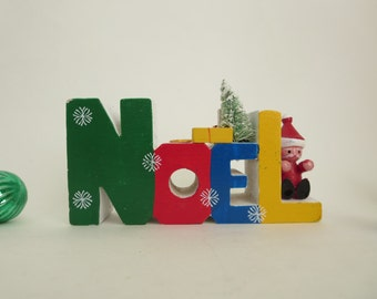 Vintage Noel Christmas Candle Holder  - Colorful Wooden NOEL Letters Candle Holder made in  Taiwan