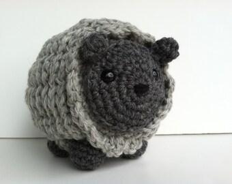 Amigurumi Crochet Sheep Plush Toy - Charcoal Heather Gray & Heather Gray Kawaii Plush Sheep Gift Under 30 Nursery Decor Stuffed Sheep