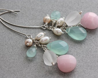 Blue and Pink Chalcedony, Long Earrings, Wedding Party, Birthday Gift for Wife, for Mom, Fall fashion, Fall Trend, Shop for Gifts, Sweet 16