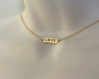 Choker, LOVE Charm Gold Necklace, Romantic, Trending, for layering, Engagement Gift, Fashion jewelry, Bridal Shower, Birthday Gift for Wife