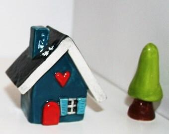 Little Clay House | Ceramic House | Miniature House | Whimsical house | Small Blue Green House | Clay House | Fairy House