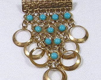 Art Deco Brooch Gold Rings Turquoise Blue Beads Dangle Drop Vintage