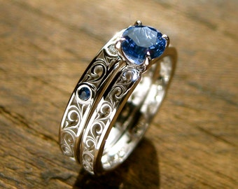 Blue Sapphire Engagement Ring & Matching Wedding Band in 14K White Gold with Diamonds and Fine Scroll Work Size 5