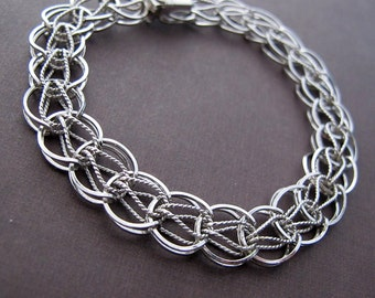 vintage sterling silver interlocking link wide bracelet for charms